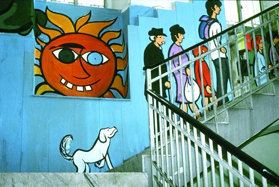 Sacmpia, murales all'interno delle Vele