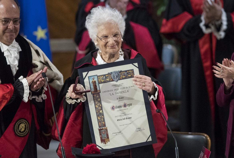 Liliana Segre ieri all'università La Sapienza
