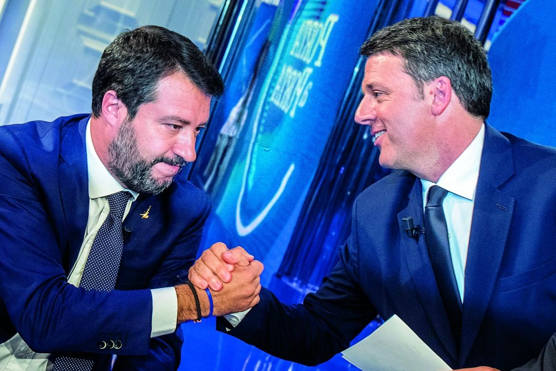 Matteo Renzi con Matteo Salvini a Porta a Porta