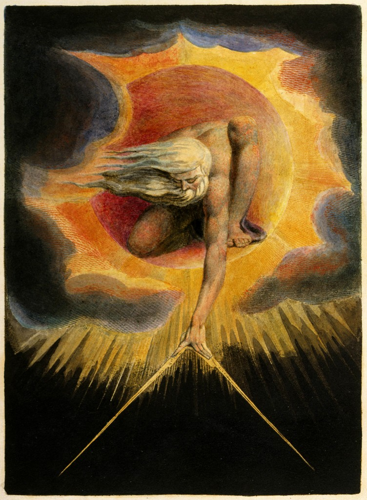 William Blake, The Ancient of Days setting a Compass to the Earth, frontespizio di Europe a Prophecy, 1794, Londra, British Museum