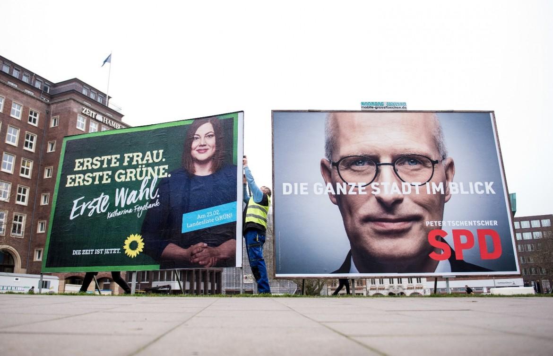I due contendenti alle elezioni: la verde Katharina Fegebank e Peter Tschentscher (Spd)