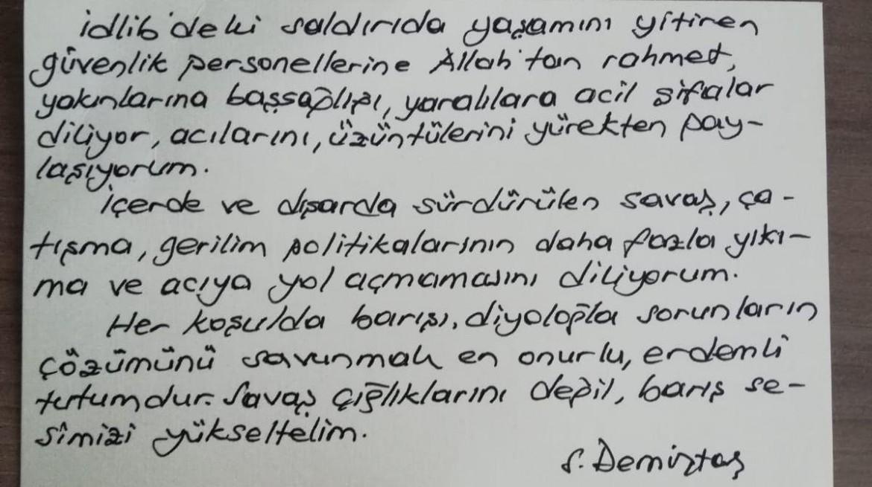 Il messaggio di Demirtas dal carcere