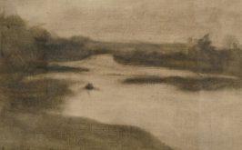 Eugne Carrire Paysage avec large rivire 1906