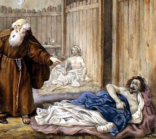 Padre Cristoforo e Don Rodrigo nel Lazzaretto in una illustrazione dei Promessi sposi