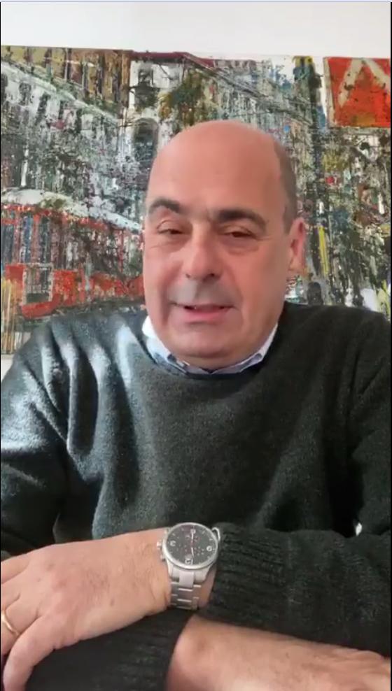 Nicola Zingaretti, segretario Pd, dal video su facebook in cui annuncia di essere stato contagiato dal Covid-19