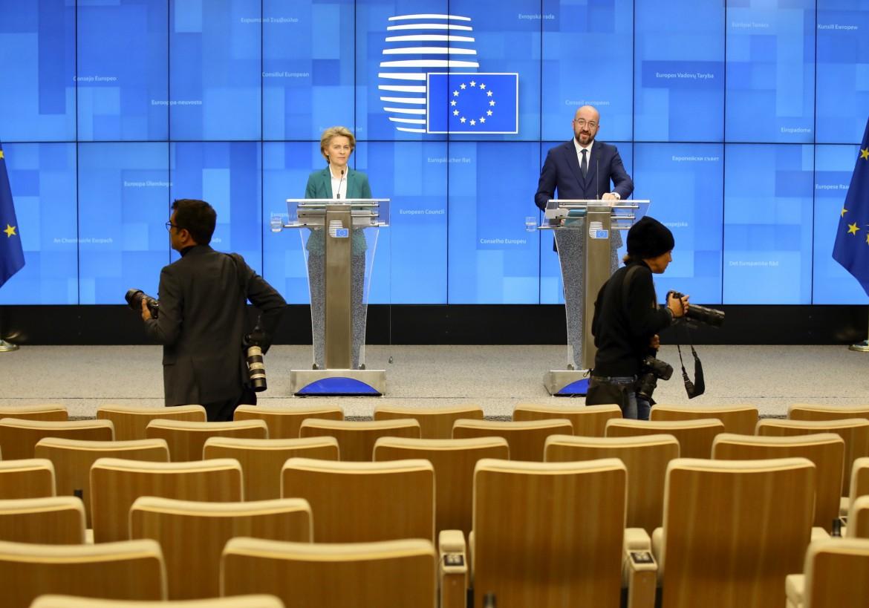 Conferenza stampa in videoconferenza dopo il G7 di Ursula von der Leyen e Charles Michel