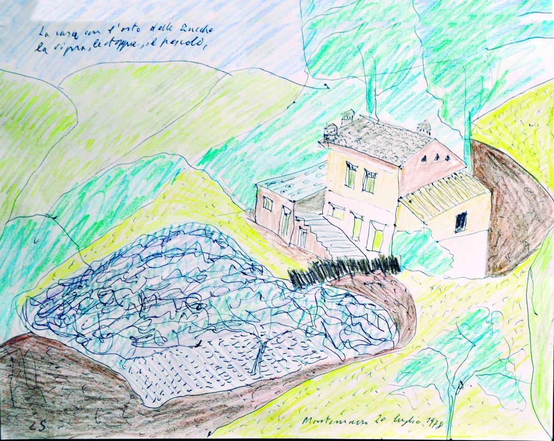 Disegno a pastello e inchiostro di Leonardo Sinisgalli: La casa con l'orto delle zucche, 1978;