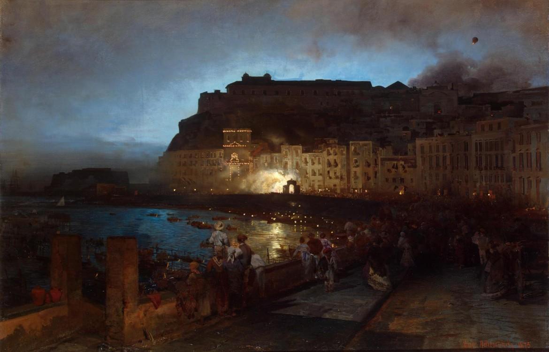 Oswald Achenbach, «Fuochi d'artificio a Napoli», 1875