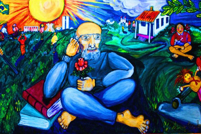 Un dipinto che ritrae Paulo Freire