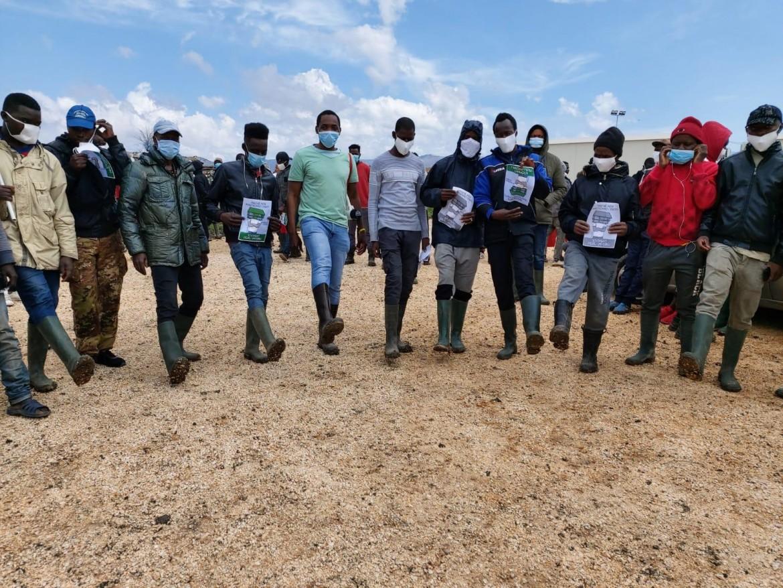 La protesta dei braccianti nella campagne di Foggia