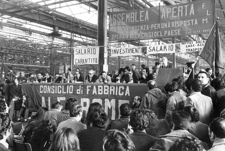 Assemblea del consiglio di fabbrica della Alfa Romeo, 1974