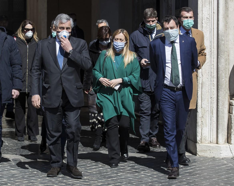 Centrodestra: Antonio Tajani, Giorgia Meloni e Matteo Salvini