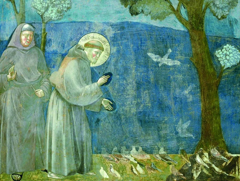 «La Predica agli uccelli», dal ciclo di affreschi delle Storie di san Francesco della Basilica superiore di Assisi, attribuiti a Giotto