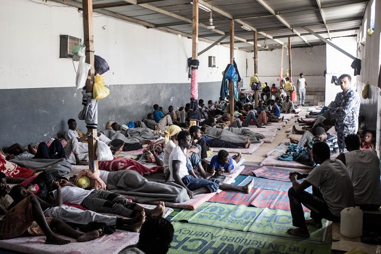 Un centro di detenzione per i migranti in Libia