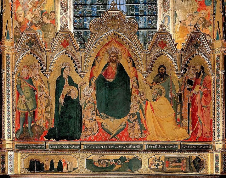 Andrea Orcagna, Redentore e santi, 1357: Polittico della Cappella Strozzi, Mantova