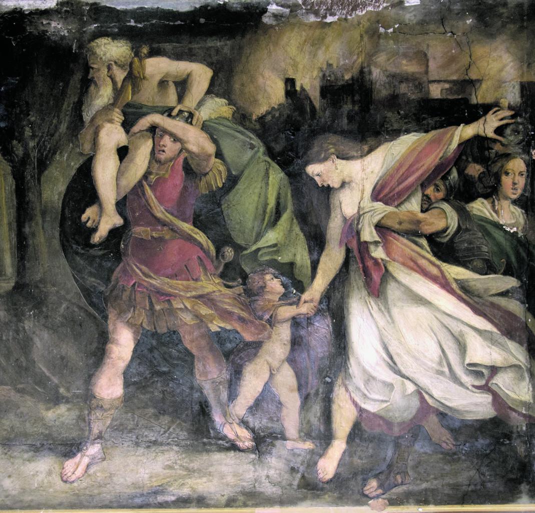 Ludovico Carracci, La fuga di Enea, part.,1586-'87,  Bologna, Palazzo Ratta