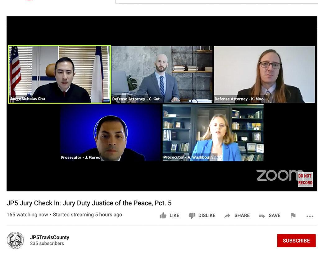 Primo processo virtuale negli Usa, dal Texas, andato in onda su youtube l'11 agosto 2020