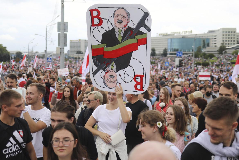 Una delle proteste contro Lukashenko a Minsk