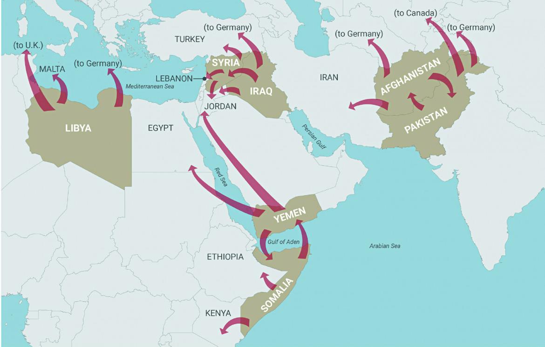 La mappa dei paesi analizzati nel rapporto della Brown University e i luoghi di destinazione dei rifugiati