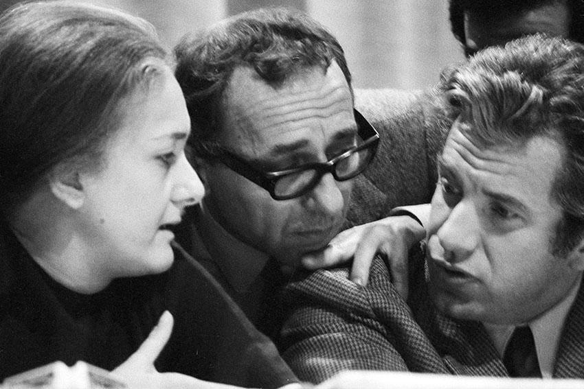 Roma, Teatro Eliseo, 15 febbraio 1970: prima uscita pubblica del gruppo-rivista Il Manifesto. Rossana Rossanda, Luigi Pintor, Lucio Magri