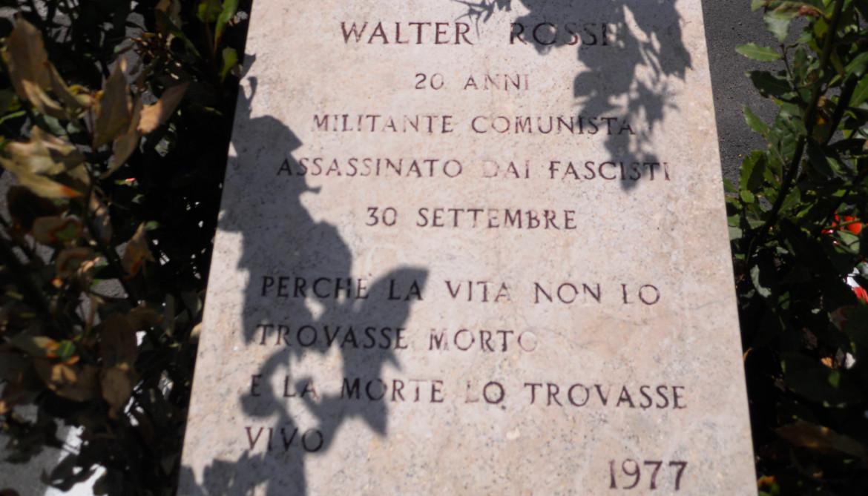 Targa in ricordo di Walter Rossi