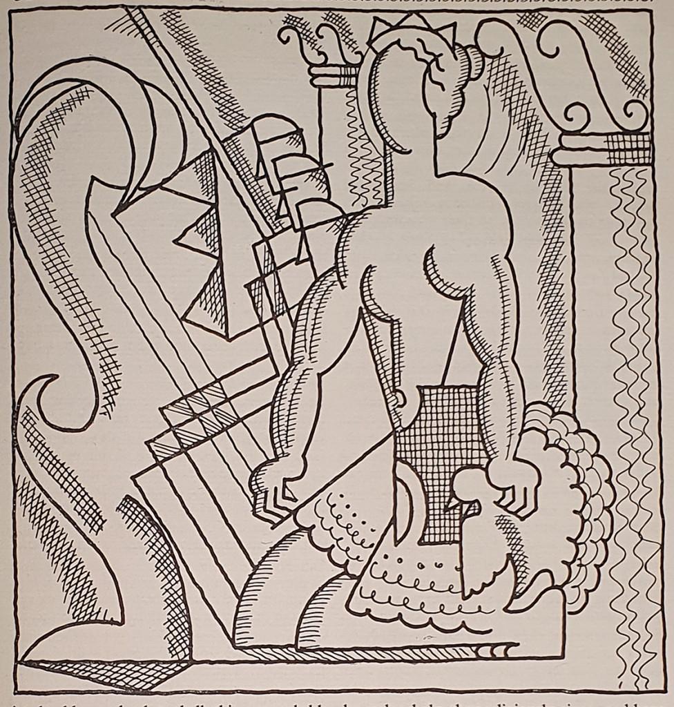 Illustrazione di Edward McKnight Kauffer per The anatomy of Melancholy di Robert Burton, Nonesuch Press, 1925