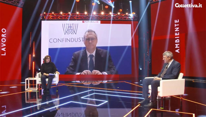 Il dibattito fra Maurizio Landini e Carlo Bonomi alla kermesse