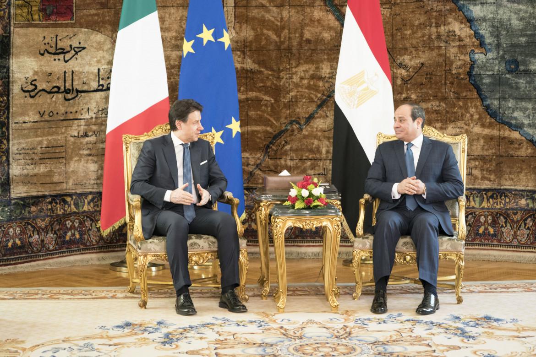 Giuseppe Conte con il presidente egiziano al-Sisi
