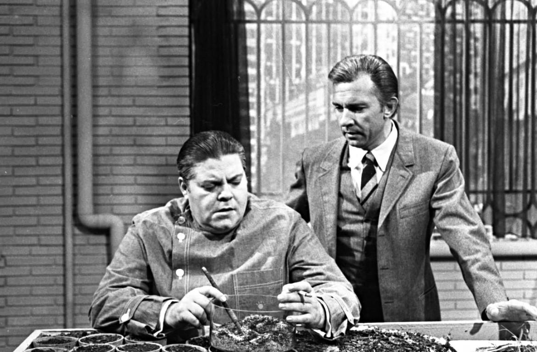 Tino Buazzelli e Paolo Ferrari nello sceneggiato tv tratto dai libri di Stout trasmesso dalla Rai dal 1969