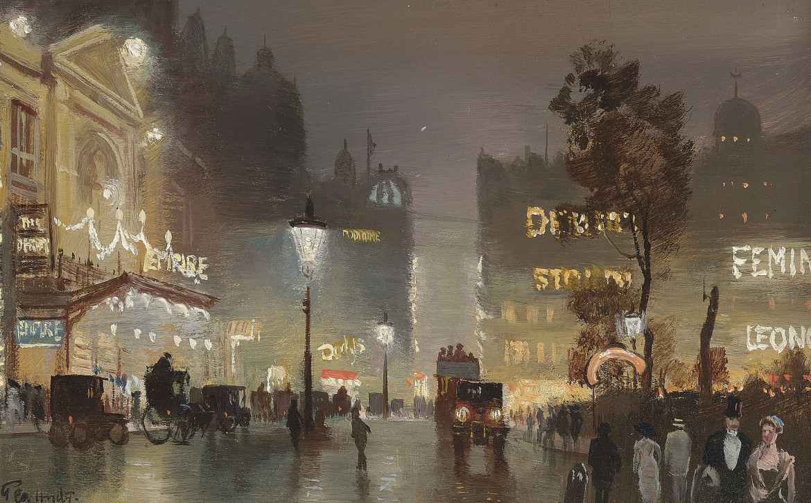 George Hyde Pownall, «Piccadilly Circus; and The Empire, Leicester Square», 1910 ca.