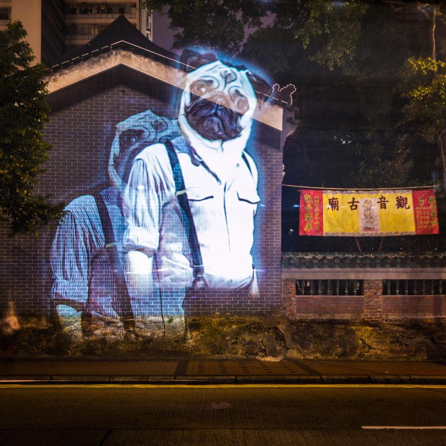 Video-installazione dell'artista Julien Nonnon per le strade di Hong Kong sul tema dello zodiaco tradizionale cinese