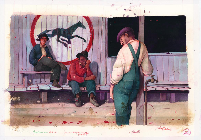 Una delle tavole  di Rébecca Dautremer per la sua interpretazione grafica di Uomini e topi  di Steinbeck, Bompiani
