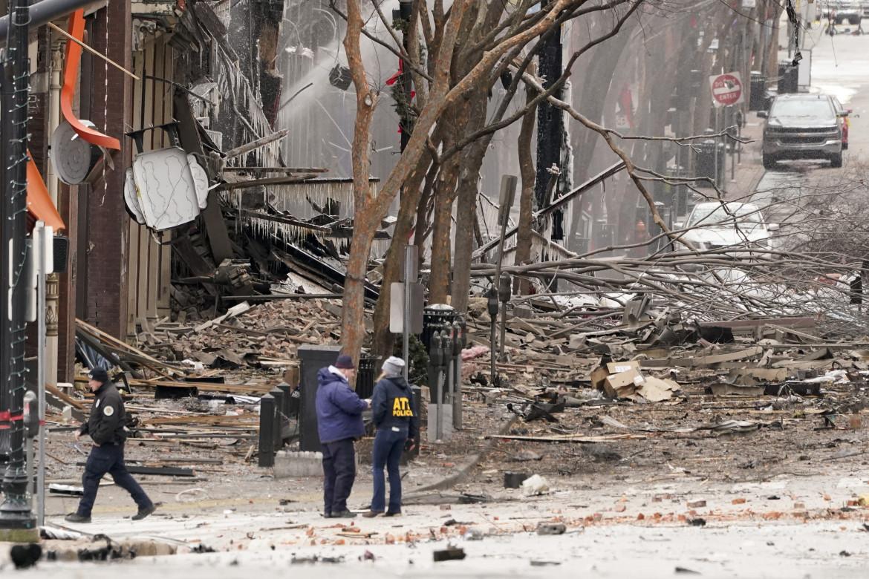 Il luogo dell'esplosione a Nashville