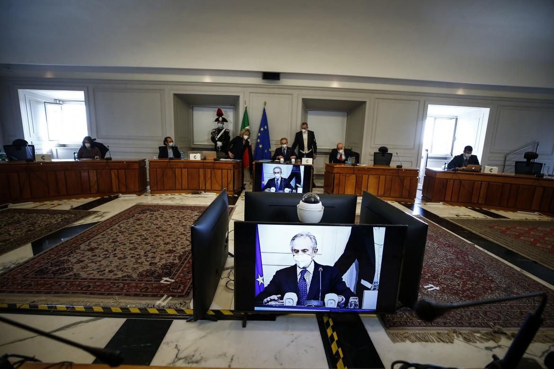 La conferenza stampa dopo l'elezione del nuovo presidente della Corte costituzionale Giancarlo Coraggio