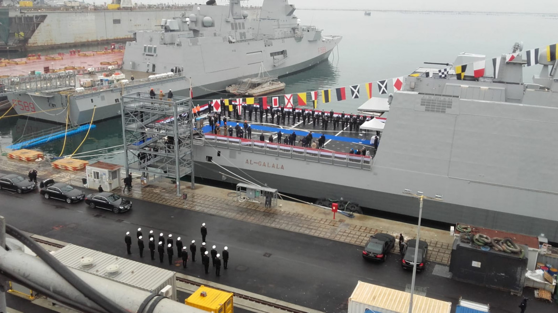 La prima fregata al-Galala prima della partenza da La Spezia