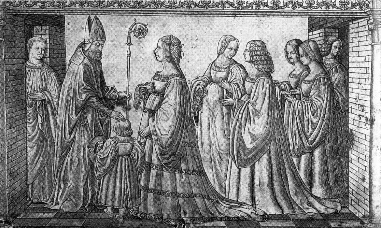 Giannantonio da Foligno, Lucrezia presenta  a S. Maurelio, protettore  di Ferrara, il figlio Ercole, 1512, Ferrara, S. Giorgio fuori le mura, pannello reliquiario di S. Maurelio