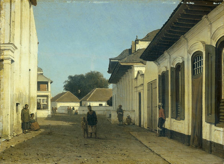 Jan Weissenbruch (attr.), Strada nella zona vecchia di Batavia (Indie orientali olandesi), 1860-1880, Amsterdam, Rijksmuseum