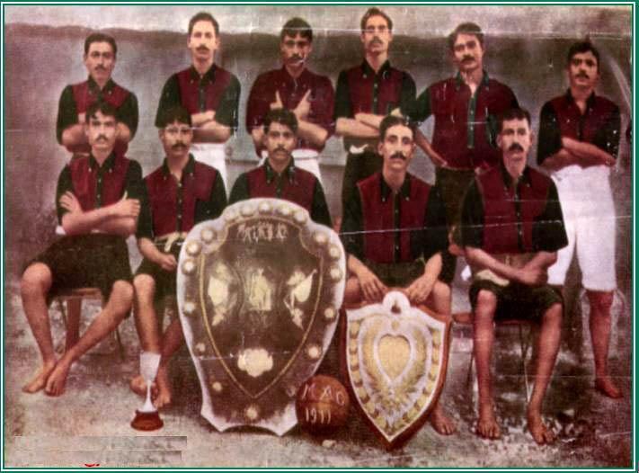 Foto di squadra del Mohun Bagan Athletic Club, 1911