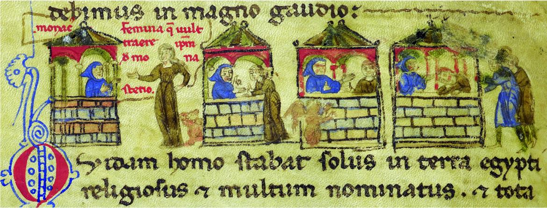 Il monaco sedotto, part., vignetta tratta dal codice Hamilton 390, Berlino, Staatsbibliothek