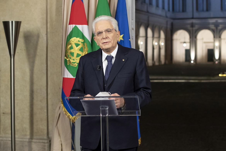 Palazzo del Quirinale, 31 dicembre 2020, il presidente della Repubblica Sergio Mattarella si rivolge agli italiani