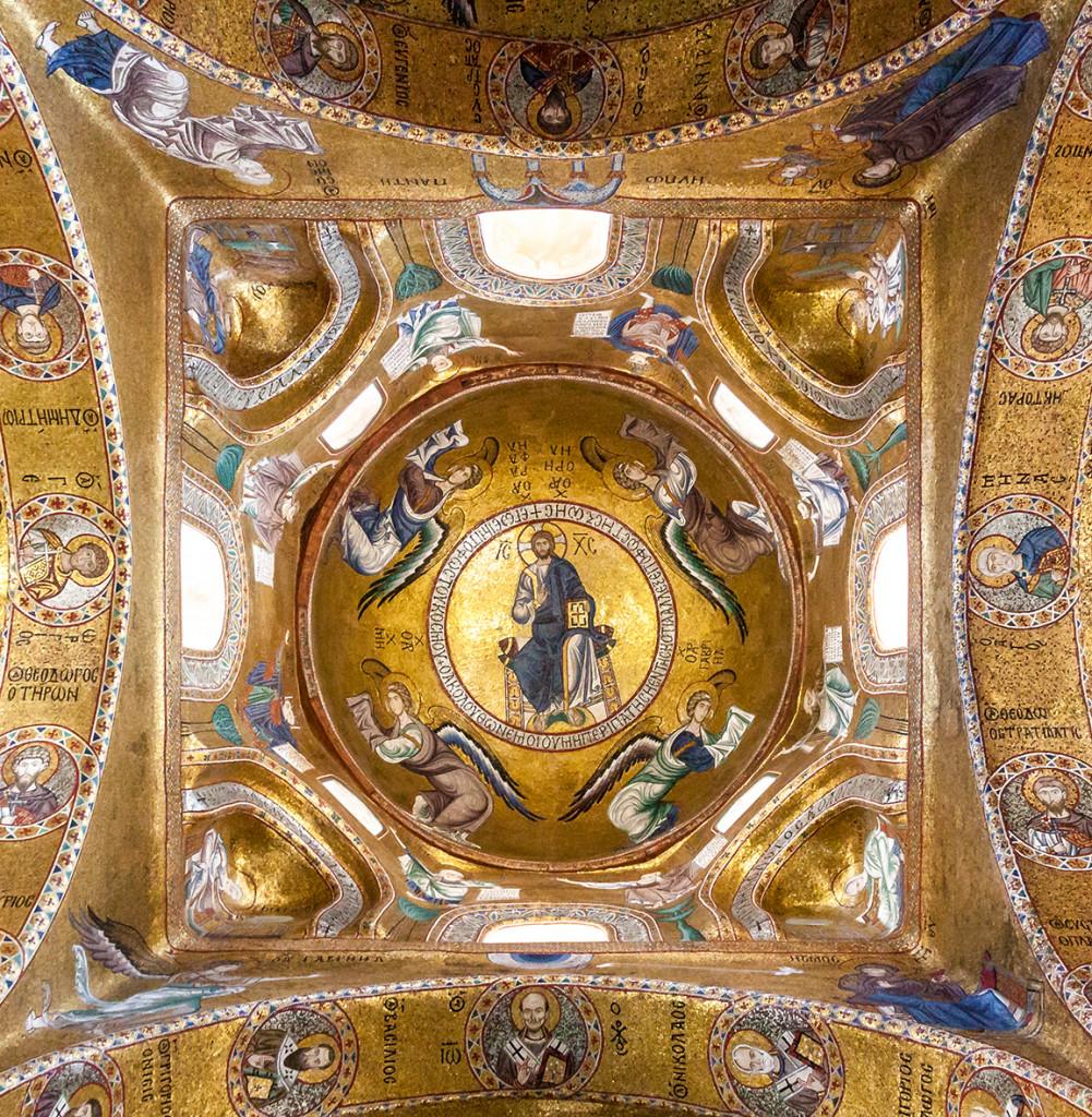 Chiesa di Santa Maria dell'Ammiraglio («Martorana»)  a Palermo, XII secolo, particolare della cupola, foto Matthias Süßen