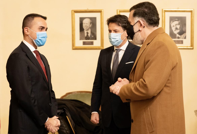 Il premier di Tripoli Sarraj a Palazzo Chigi con il presidente del Consiglio Conte e il ministro degli Esteri Di Maio