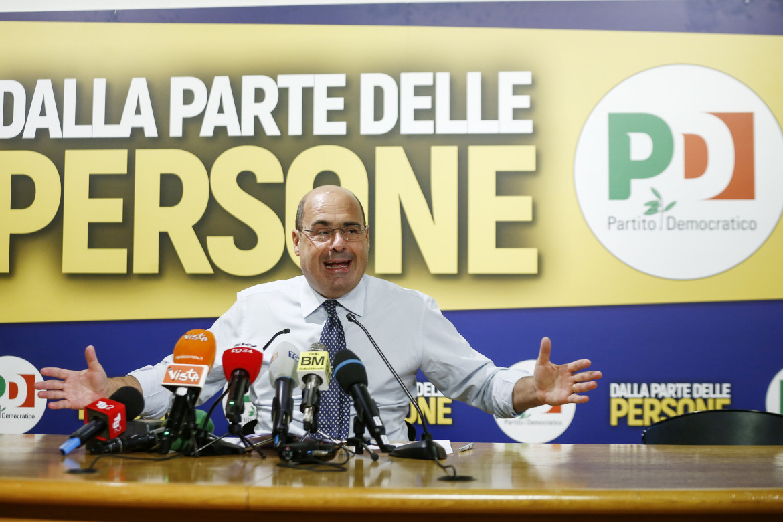 Una conferenza stampa del segretario del Partito Democratico Nicola Zingaretti
