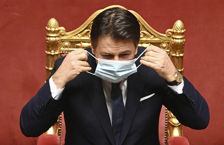 Giuseppe Conte al Senato per il voto di fiducia