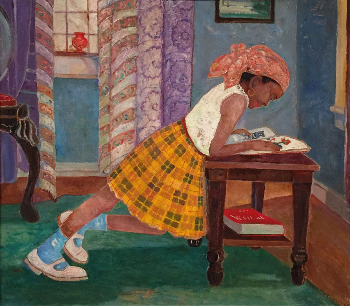 Palmer Hayden,  Young Girl Reading, 1960