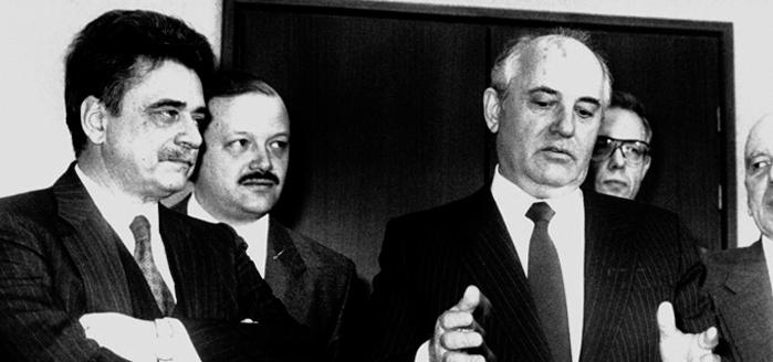 Mosca, marzo 1989, Achille Occhetto e Michail Gorbaciov.