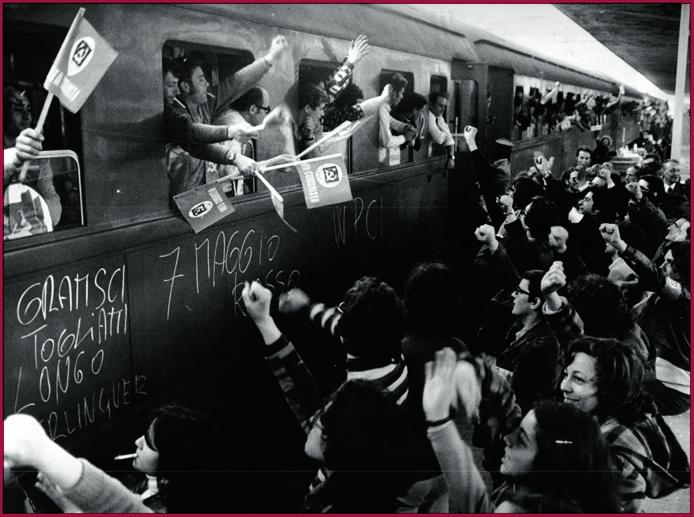 : Emigrati italiani che tornano per votare Pci alle elezioni del 7 maggio 1972 e un manifesto del 1969