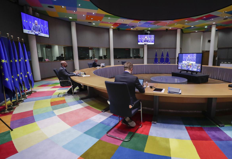 Charles Michel  in videoconferenza al Consiglio europeo