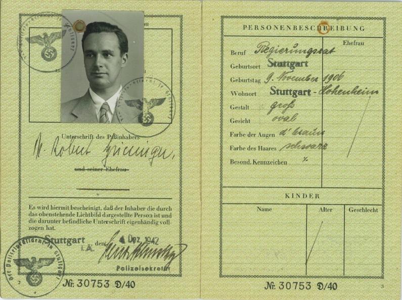 Il passaporto di Robert Griesinger, dal libro di Daniel Lee