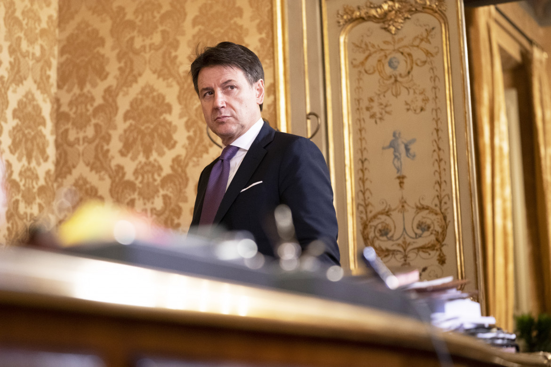 Il presidente del consiglio dimissionario Giuseppe Conte